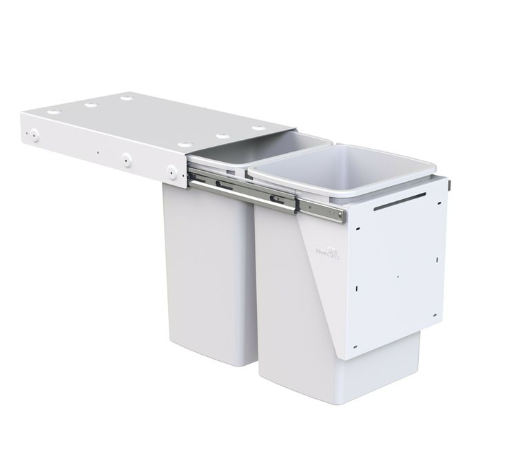 Hideaway Compact model: KC40D. 2 x 20L buckets, door pull. Recycling solution for the larger family.