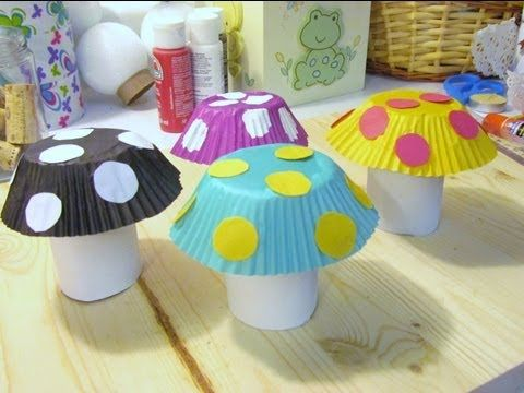 How to make a Mushroom from Toilet Paper Tube & Cupcake ...