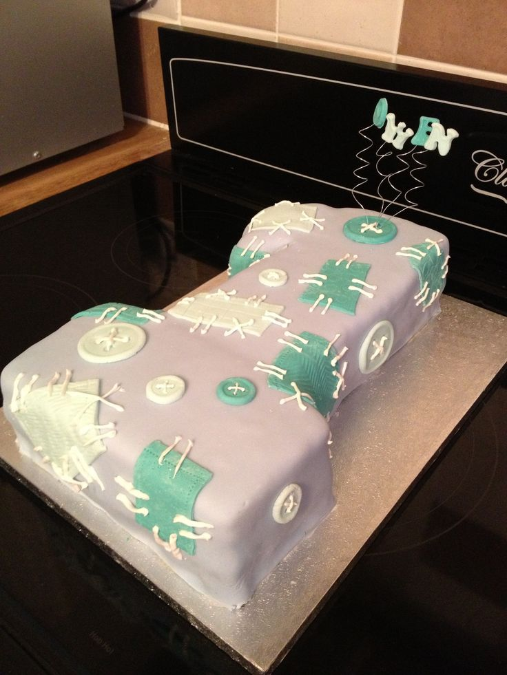No 1 patchwork birthday cake
