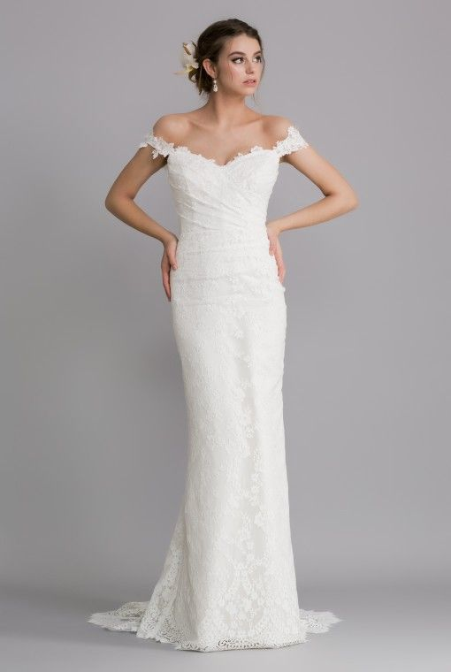 OCA612T SHANNON  A fitted slim line gown with a sweetheart neckline leading into flattering off the shoulder lace straps.