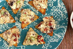 Give your chicken salad a Greek-style makeover by mixing in some kalamata olives, sun-dried tomatoes and tangy crumbled feta.
