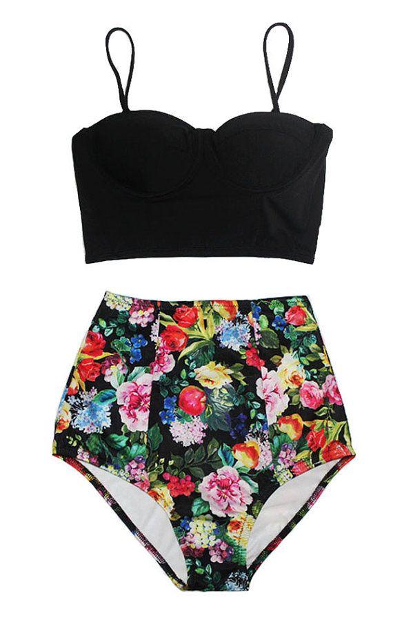 Black Midkini Underwire Top and Flower High waisted waist Shorts Bottom Pinup Bikini Swimsuit Swimwear Swim Bathing suit dress wear S M