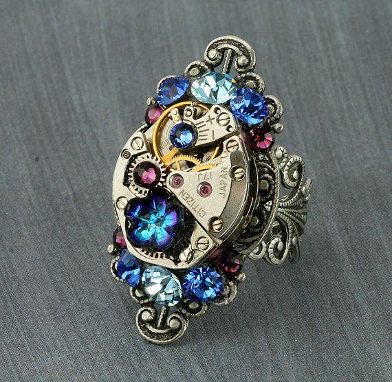 Steampunk Ring Crystal Steampunk Ring Cocktail Steampunk Watch Ring Silver Victorian Filigree Blue Aqua Purple Swarovski Crystal Gothic