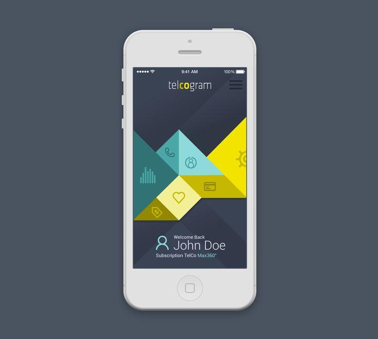 Telcogram app tangram, ux, ui, menu, navi, png, psd, android, ios7, ios, mobile, app