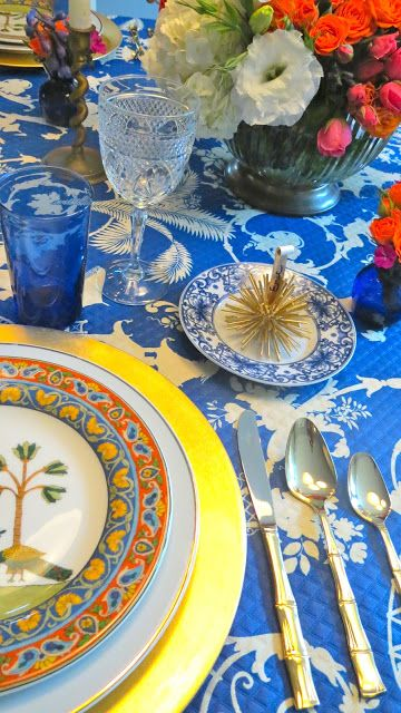 Rosa Beltran Design {Blog}: COBALT & CHINOISERIE TABLESCAPE holiday christmas thanksgiving table setting decor design scape blue gold orange saffron gold bamboo flatware silverware mid-century midcentury mid century chargers peacock world market voyage dinnerware dishes cut glass crystal goblets fuchsia pink hot orange spray garden roses wedding centerpiece bouquet floral arrangement flowers flower DIY sea urchins urchin name card holders place royal blue pagoda regency hollywood brass