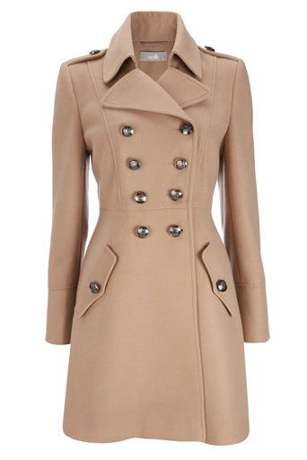 Camel Military Double Breasted Coat