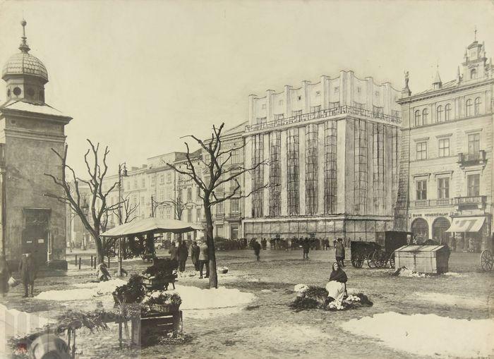 Kolaż z perspektywą przedstawiający zrealizowany projekt domu czynszowego Towarzystwa Ubezpieczeniowego na Życie Feniks, około 1929 r.,