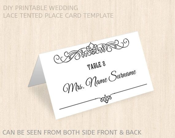 printable wedding place card template name place card
