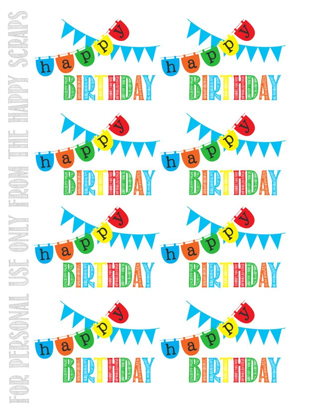 Happy Birthday Printable Tags at www.thehappyscraps.com