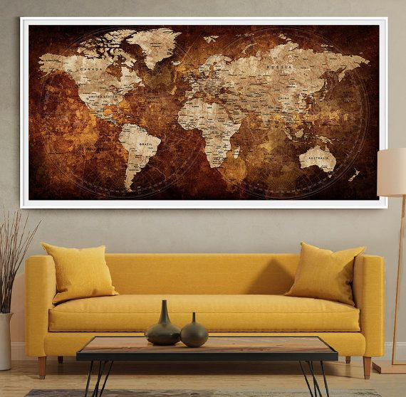 Charming World Map Push Pin Extra Large Wall Art Print By FineArtCenter Part 20