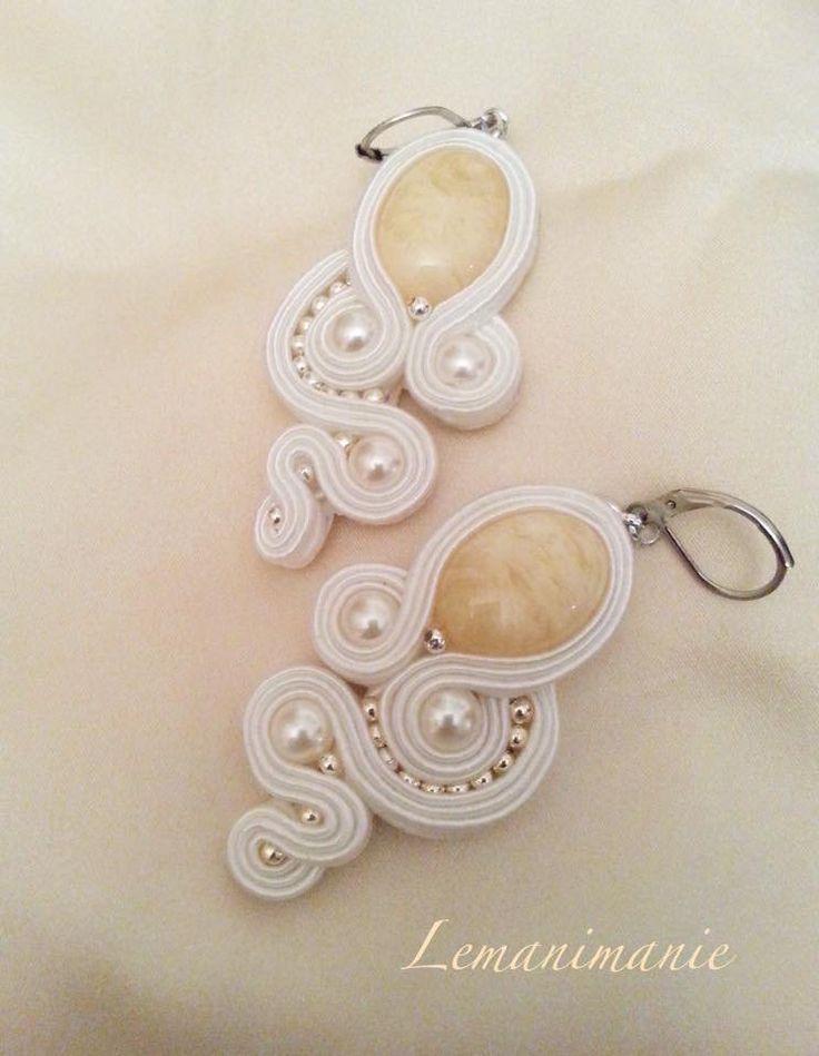 #orecchini #soutache #bianchi #cerimonia #pendenti #Lemanimanie, by Lemanimanie, 25,00 € su misshobby.com