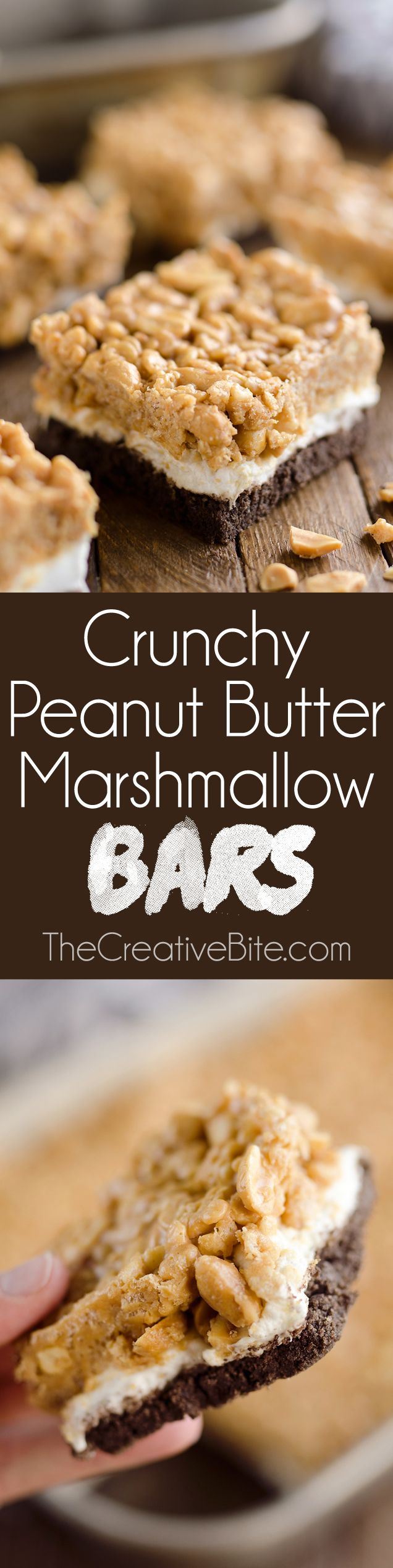 Crunchy Peanut Butter Marshmallow Bars are an easy 30 minute sweet and salty dessert everyone will love! A chocolate crust is topped with marshmallows and a crunchy peanut butter and rice crispie mixturefor a delicious treat.#BeyondTheJar #Ad #PeanutButter