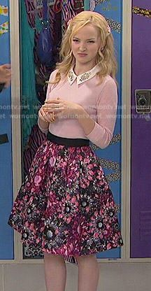 Liv's pink floral skirt and sweater with embellished collar on Liv and Maddie.  Outfit Details: http://wornontv.net/50547/ #LivandMaddie