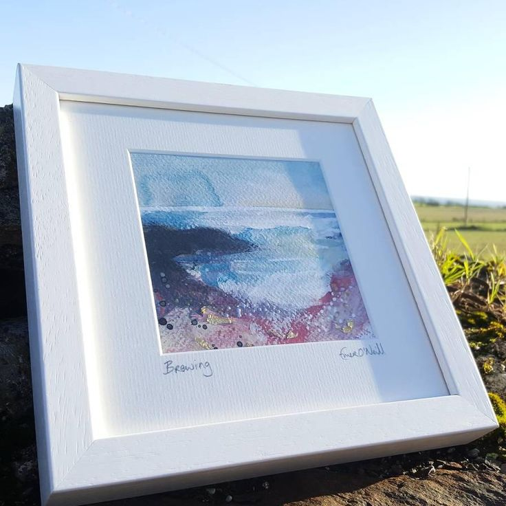 'Brewing' is an acrylic & mixed media Irish Seascape with touches of 24ct gold leaf. Painted on 5x5* 300gsm cold pressed watercolour paper, which has been mounted in a 8x8* handmade frame. *approx measurements. €65 P&P I use my art to connect my sea loving customers to the power of