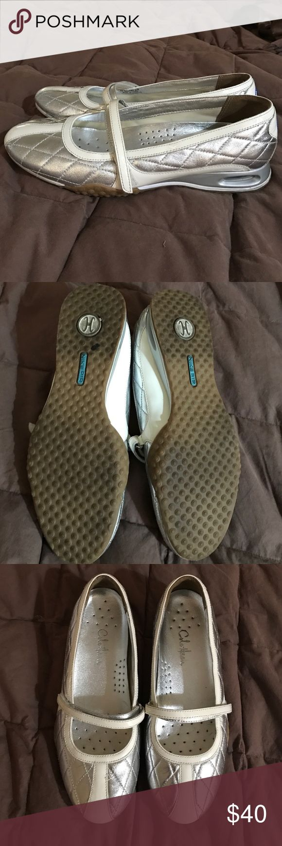 Cole Haan Nike Air Flats Size 6 1/2 Silver Cole Haan Nike Air Flats Size 6 1/2 Silver. Hardly used in great condition Cole Haan Shoes Flats & Loafers