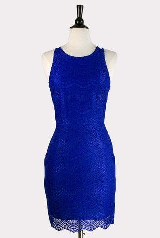 Cobalt lace overlay dress with scalloped hem and edging. Features a rounded neckline with double straps, racer-back styling in back with sheer back bodice. Partially line, invisible back zipper. - 100