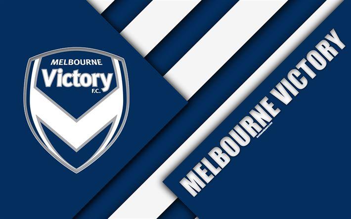 Download wallpapers Melbourne Victory FC, 4k, Australian Football Club, material design, logo, white blue abstraction, A-League, Melbourne, Australia, emblem, football