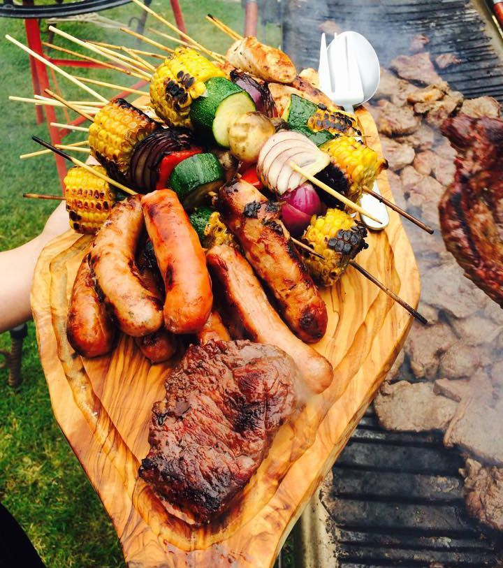 Perfect For A Summer Wedding Bbq Platter Selection Of Sausages Steaks And Veggie Kebabs Bbq Wedding Reception Bbq Recipes Summer Wedding Food