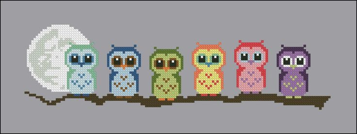 Cute Little Owls on a Branch - PDF Pattern - CloudsFactory