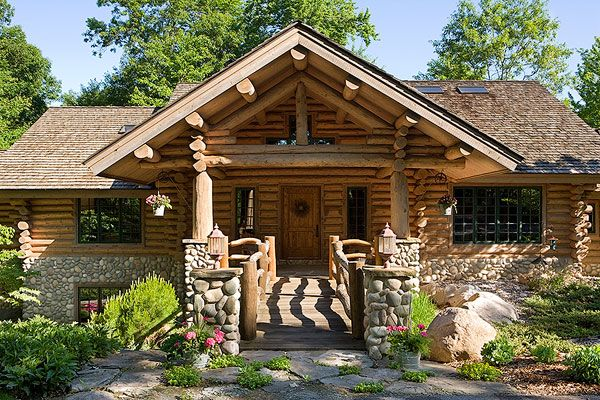 I Love The Stone Work On This Log Cabin Beautiful Entry