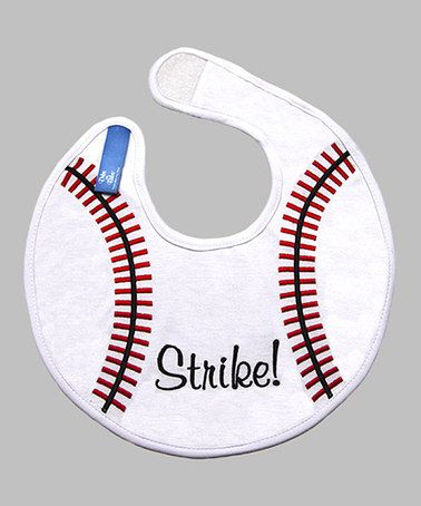 Take a look at this White & Red Baseball Bib by Dibs on Bibs on #zulily today!