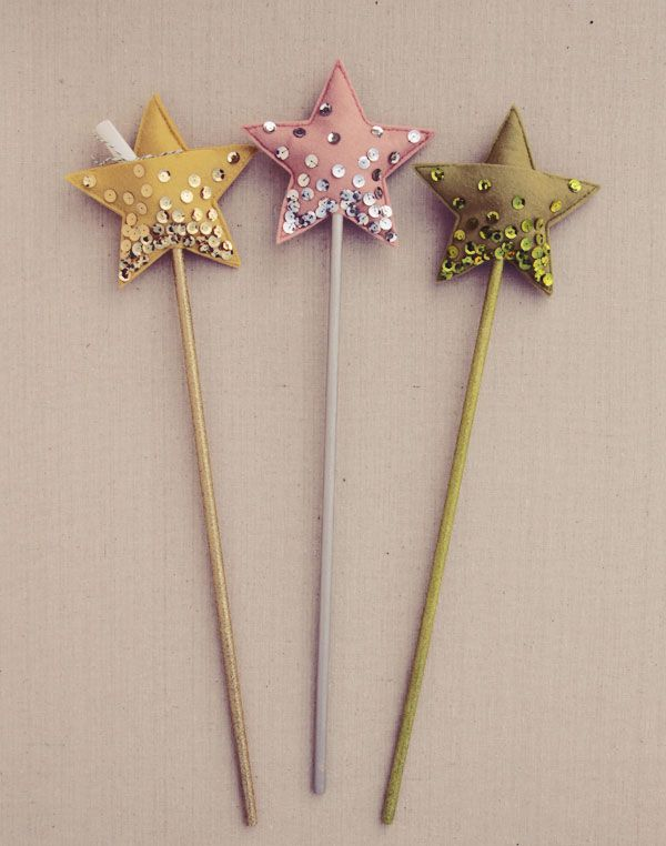 DIY star wand.... Cute idea for little girls, but I'd probably skip