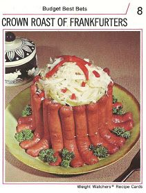 crown roast of frankfurters used to be the hit of the church picnic...until it got left out in the sun too long... (Recipe Cards #15)