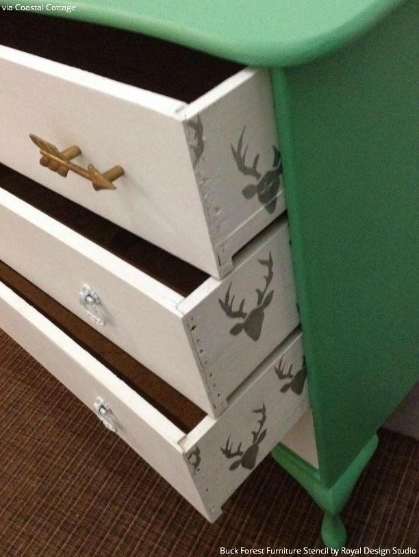 Colorful Dresser Drawers Makeover using Deer Head Furniture Stencils and Pattern - Royal Design Studio