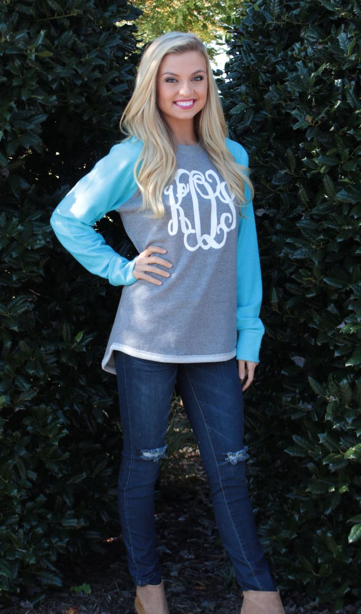 Favorite Fall Sweatshirt! Monogrammed Raglan Sweatshirt Tunic from Marleylilly.com