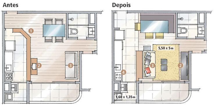 Reforma do apartamento uniu cozinha e sala - CasaA cozinha era semiaberta, com uma meia-parede angulada (1). Ao derrubá-la, as profissionais melhoraram a circulação geral e ainda puderam dispor de uma mesa com mais lugares. No estar, essa mudança forçou a inversão dos postos da TV (2) e do sofá (3), que agora apoiase contra a bancada com adega. O fogão foi substituído por um cooktop e um forno, ambos embutidos na bancada de granito da pia (4).