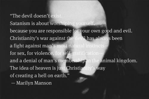 Marilyn Manson, who possesses a red membership card to the Church of Satan