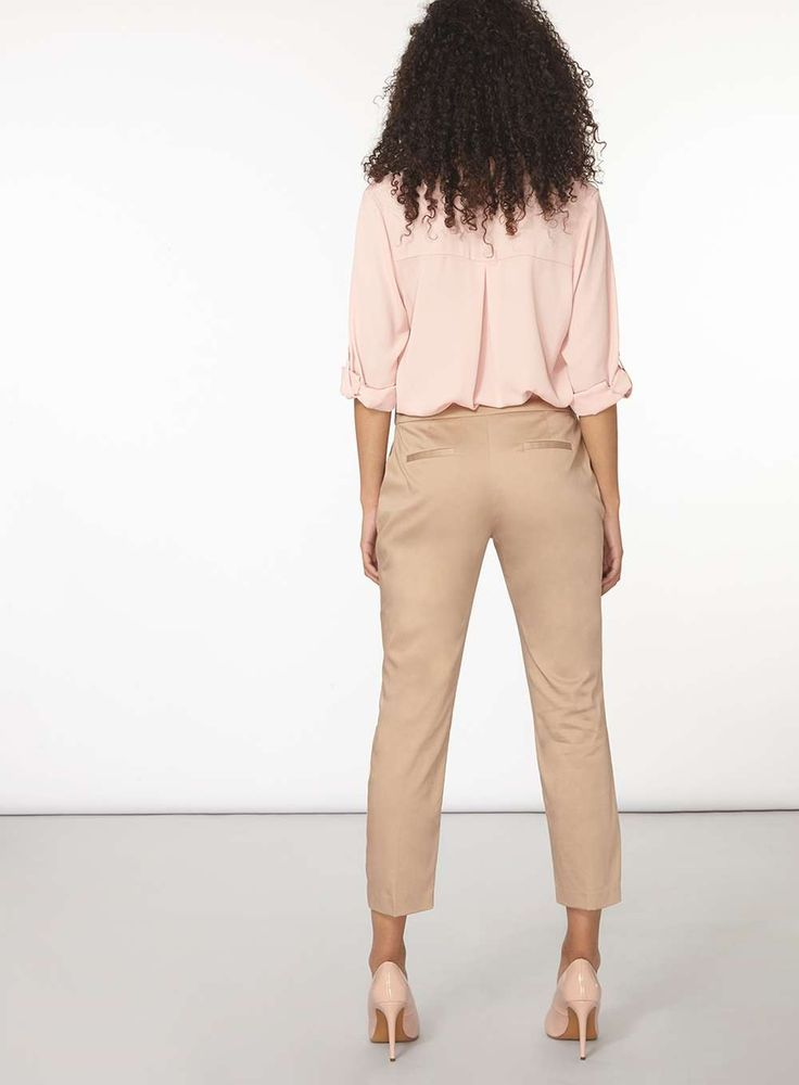 Womens Stone Metal Tab Cotton Sateen Trousers- Beige