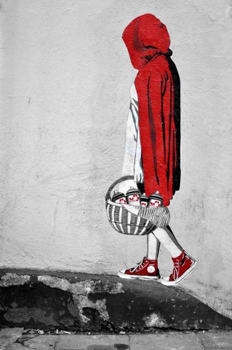 little red hoodie w/red chuck taylor converse and a basket full of graffiti cans...love it