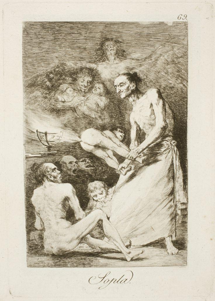 """Francisco de Goya: """"Sopla"""". Serie """"Los caprichos"""" [69]. Etching, aquatint…"""