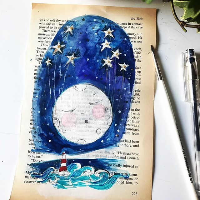 Moon rising. Little stars  powerful waters all the doing of the big full moon. ✨original work for sale✨ #moon #moonlight #moonrise #starlight #hightides #lighthouse #guidetheway #lightthenight #vintagebookpages #artonpaper #artforwalls #womenwhodraw #instaart #instagallery