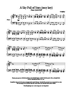 A Sky Full of Stars - Coldplay - free easy piano sheet music