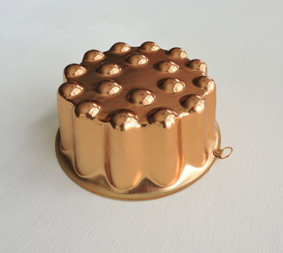 Shiny Vintage Copper Jello Mold Hanging Cake by ninthstreetvintage
