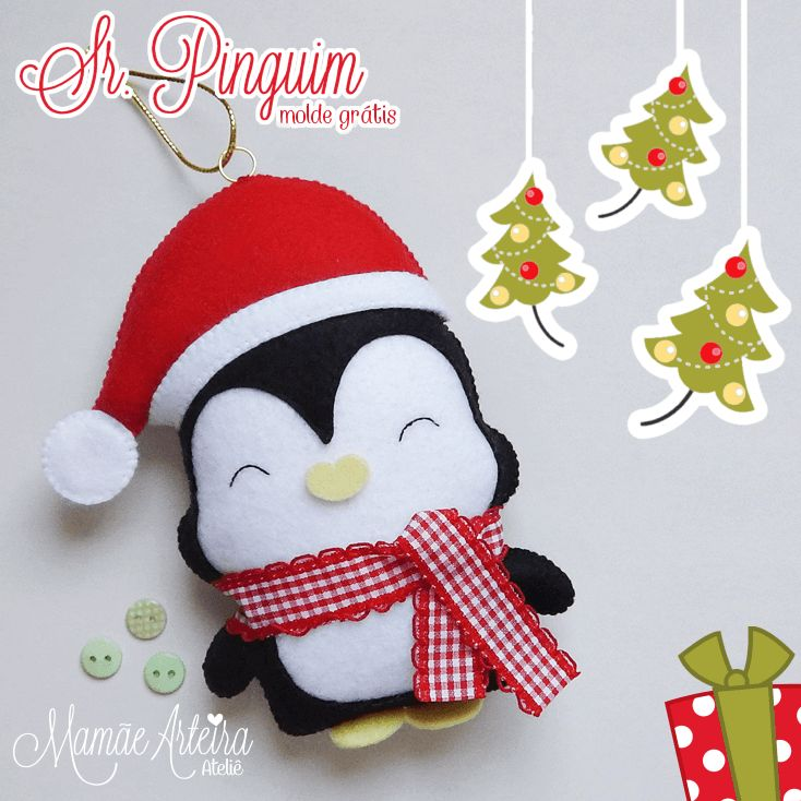 Navidad está llegando y este pingüinito está buscando un lugar para decorar tu árbol. Un lindo trabajo demamaearteira. Materiales: Fieltro en color: blanco, negro, rojo y amarillo. 1 tira de cualquier tela para la bufanda Relleno Aguja e hilo en color: blanco, negro y rojo. Tijeras – Imprime el molde en hoja A4, es tan …