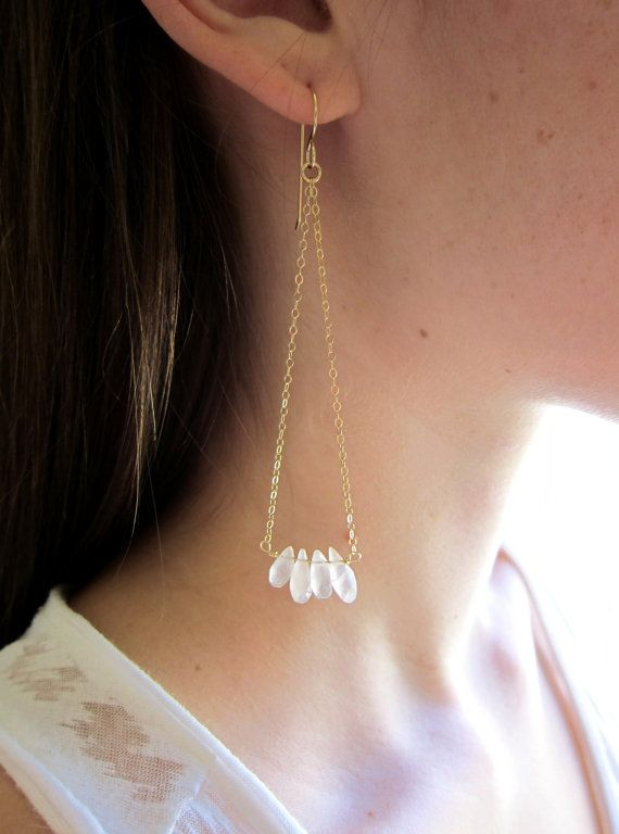 14k Gold Filled Earrings with Genuine Rose by TurquoiseMagnolias, $22.00