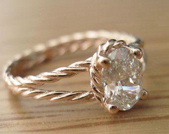 Oval Diamond Twisted Rope Engagement ring Oval Diamond by Benati