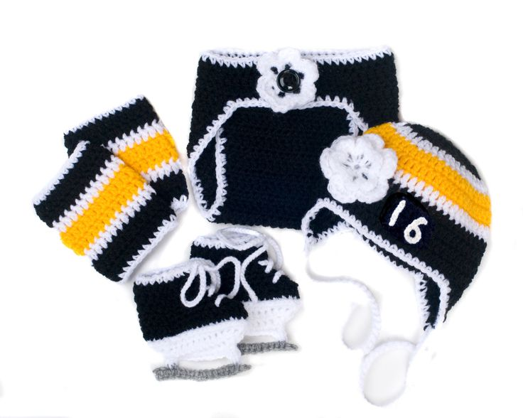 BABY GIRL HOCKEY Outfit, Boston Bruins pacifier not included, Baby Hockey Outfit, Hockey Baby Knit Girl, Hockey Baby Gift, Black Gold Hockey by Grandmabilt on Etsy