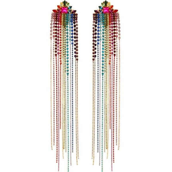 MIMI WADE Rainbow crystal earrings ($760) ❤ liked on Polyvore featuring jewelry, earrings, crystal drop earrings, crystal stone jewelry, crystal jewelry, leaf jewelry and crystal jewellery