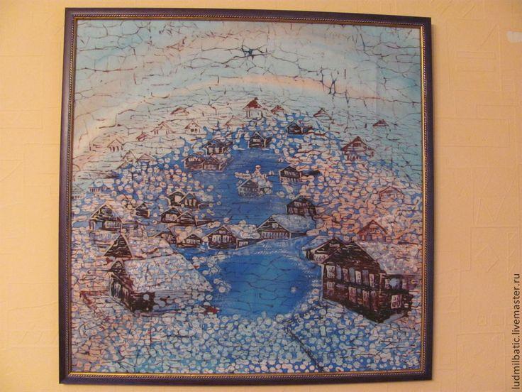Купить Снегопад - синий, Батик, картина, картина для интерьера, картина в подарок, картина батик, Снег