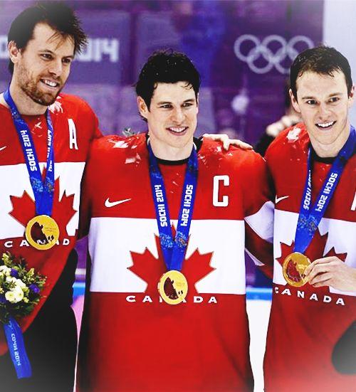 Canadian Hockey Team Captain Sidney Crosby and Alternate Captains Jonathan Toews and Shea Weber #Sochi2014