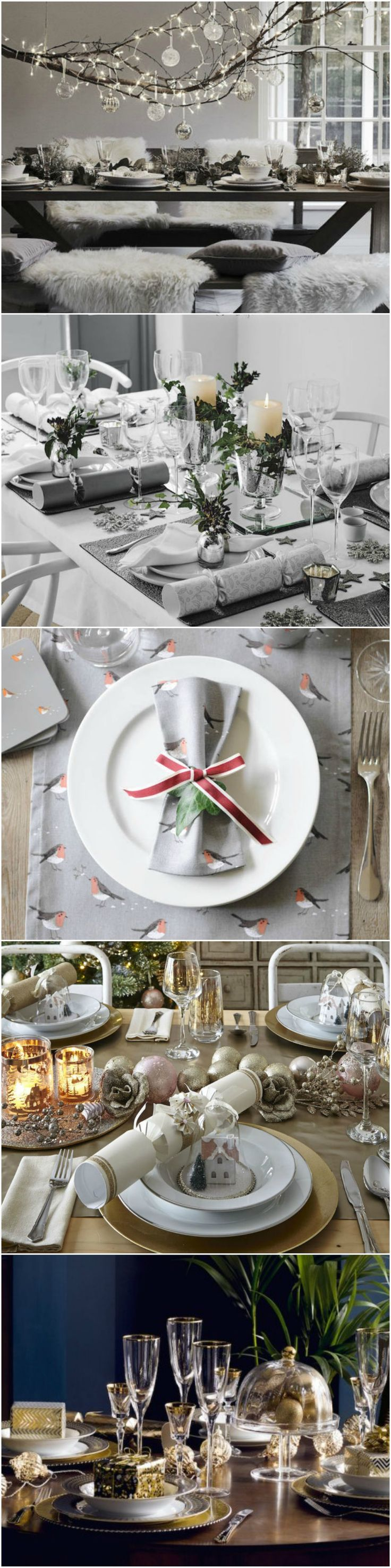 Dazzle your guests and make your festive lunch extra special with these Christmas table setting suggestions. Create a magical rustic winter wonderland by hanging foraged branches wrapped in twinkling fairylights and decorated with glass baubles over your table. Or, go for a dramatic luxe feel with painted deep blue walls, layering up Deco inspired crockery in gleaming gold on the table. Find more tips at housebeautiful.co.uk