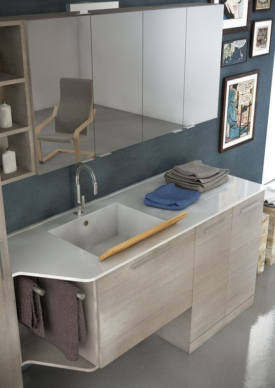 Mobile lavabo per lavatrice in legno in stile moderno con armadio ...