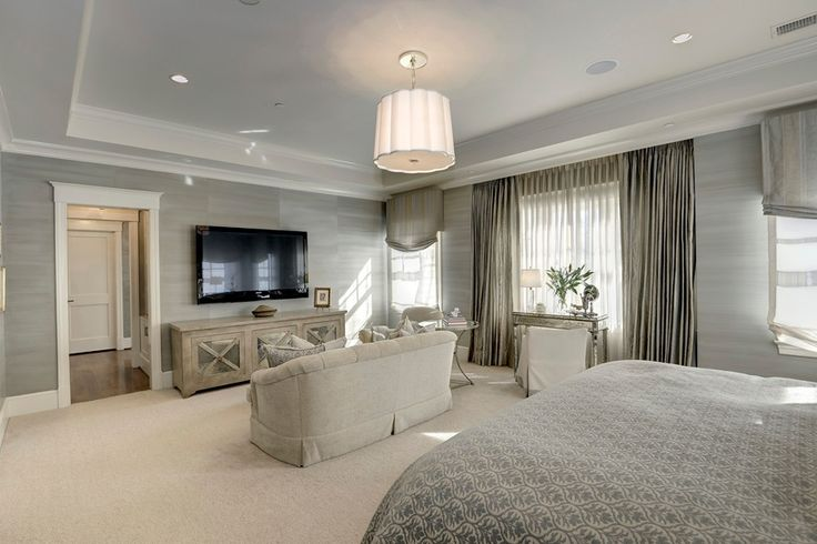 Contemporary master bedroom with carpet high ceiling for Spacious bedroom designs