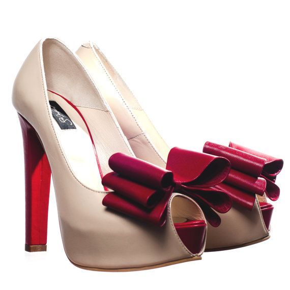 Ivory&Red Leather Peep-Toe Platform Pumps by passepartouS on Etsy