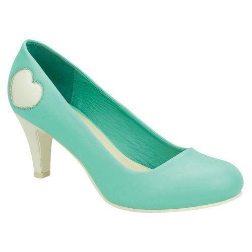 T u k escarpin femme chaussure pinup rock ann es 50 vintage r tro talon haut antipop coeurs - Chaussures annees 50 femme ...