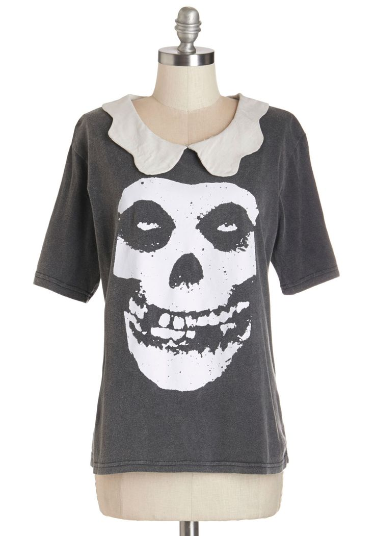 Ecstatic Age Top. Merge your love for cute fashions and good old-fashioned rock n roll by donning this petal-collared top - picturing the time-honored Misfits logo. #black #modcloth